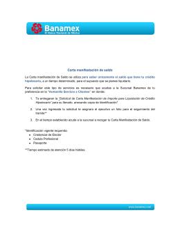 Carta de Manifestación de Saldo para Crédito Hipotecario