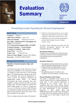 Promoting gender equality for decent employment in Pakistan