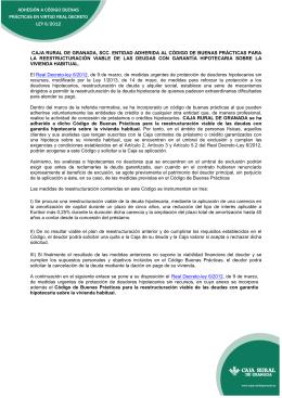 CAJA RURAL DE GRANADA, SCC. ENTIDAD ADHERIDA AL