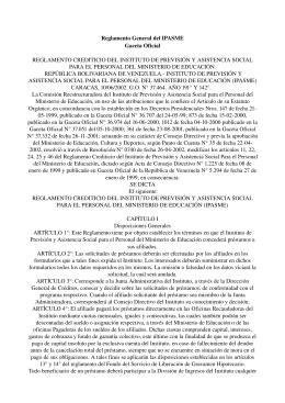 Reglamento General del IPASME Gaceta Oficial REGLAMENTO