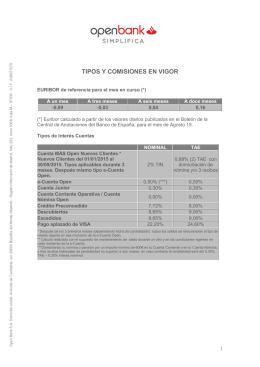 TIPOS Y COMISIONES EN VIGOR