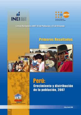 Perú: Crecimiento y Distribución de la población, 2007
