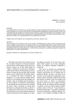 RETOMANDO LA ICONOGRAFÍA VAGINAL *