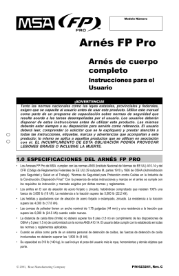 Arnes FP Pro - Arnes de cuerpo completo - Instrucciones para