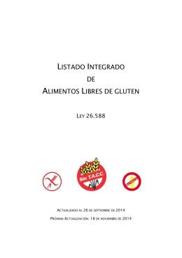 LISTADO INTEGRADO DE ALIMENTOS LIBRES DE GLUTEN