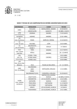 Calendario de los Campeonatos de España Universitarios por