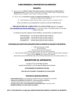 INSCRIPCIÓN DE ASPIRANTES: - Facultad de Medicina de Tampico