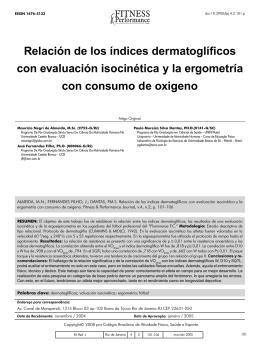 Relación de los índices dermatoglíficos con evaluación isocinética y