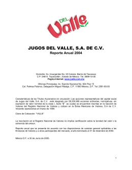 JUGOS DEL VALLE, S.A. DE C.V.