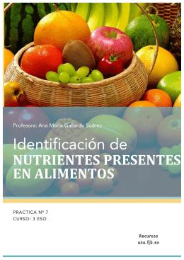Práctica 7: identificación de los nutrientes presentes en los alimentos
