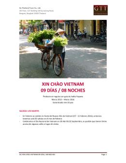 XIN CHÀO VIETNAM 09 DÍAS / 08 NOCHES