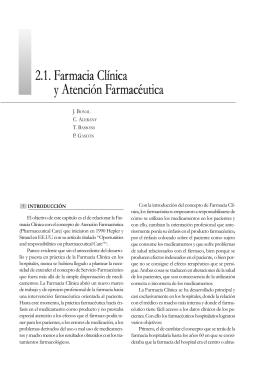 2.1. Farmacia Clínica y Atención Farmacéutica 2.1. Farmacia Clínica