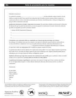 ADHD Cover Letter Spanish, Center for Health Care Quality
