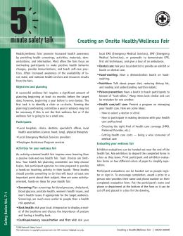 Creating an Onsite Health/Wellness Fair