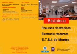 Biblioteca ETSI Montes. Recursos electrónicos