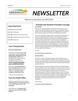 sheridan newsletter - Sheridan Elementary School