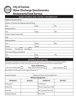 Restaurant Application - Corona Department of Water & Power