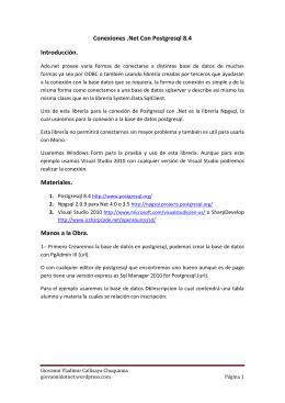 Conexiones .Net Con Postgresql 8.4 Introducción. Materiales