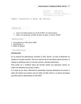 Tema: Conexión a Base de Datos.