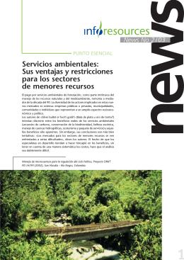 Servicios ambientales: Sus ventajas y restricciones para los