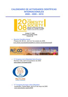 calendario de actividades científicas internacionales 2008