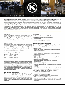 CERTIFICACION OK KOSHER en Lifestyle Holidays Vacation Resort