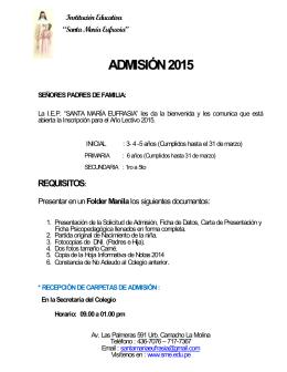 ADMISIÓN2015 - Colegio Santa María Eufrasia :: La Molina