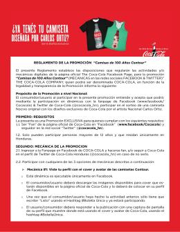 """REGLAMENTO DE LA PROMOCIÓN """"Camisas de 100 - Coca-Cola"""