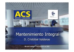 CLECE: Mantenimiento Integral - D. Cristóbal Valderas