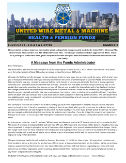 A Message from the Funds Administrator