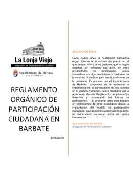 reglamento orgánico de participación ciudadana en barbate