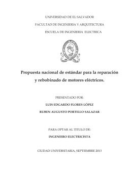 Propuesta nacional de estándar para la reparación y rebobinado de