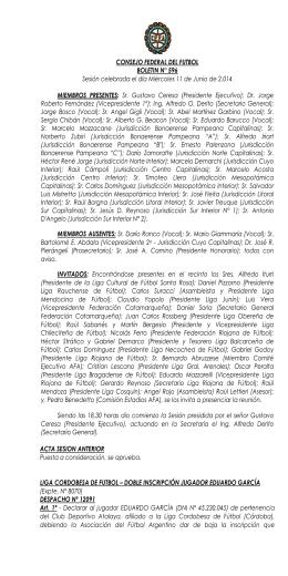 CONSEJO FEDERAL DEL FUTBOL BOLETIN N° 596 Sesión