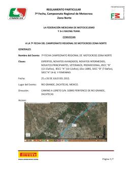 REGLAMENTO PARTICULAR 7ª Fecha, Campeonato Regional de