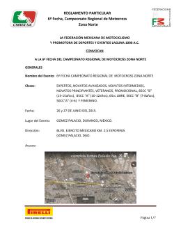REGLAMENTO PARTICULAR 6ª Fecha, Campeonato Regional de