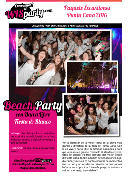 Beach Party (Fiesta de Blanco) con Barra Libre