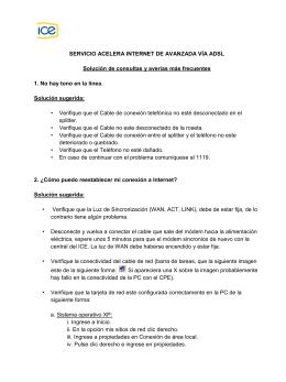SERVICIO ACELERA INTERNET DE AVANZADA VÍA ADSL