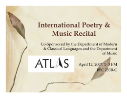 International Poetry & Music Recital