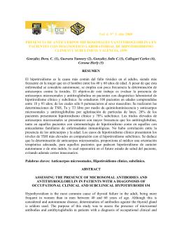 Presencia de anticuerpos microsomales yantitirogloblina en