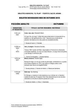 ficción adulto octubre - Ayuntamiento de Fuente el Saz de Jarama