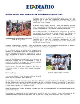 Bolivia debuta ante Venezuela en el Sudamericano - Tenis