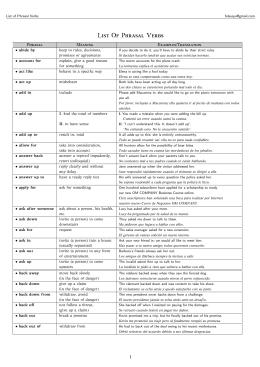 List of Phrasal Verbs - ieslosbolichesenglishbachillerato