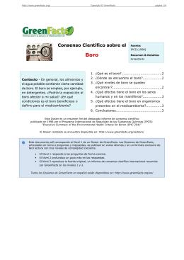 Consenso Científico sobre el Boro