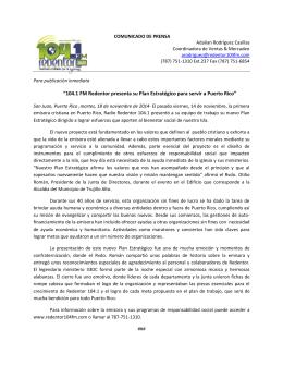 Comunicado Plan Estratégico 2014-2019