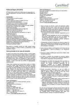 Póliza de Seguro 2012/2013 Contenido Cómo