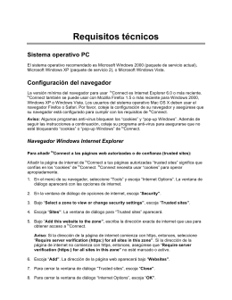 Requisitos técnicos Sistema operativo PC