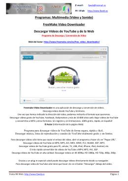 Programas: Multimedia (Video y Sonido) FreeMake Video