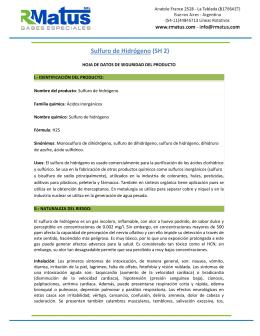 Sulfuro de Hidrógeno (SH 2)