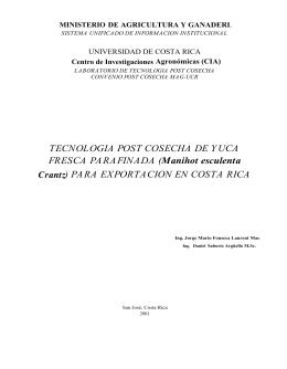 TECNOLOGIA POST COSECHA DE YUCA FRESCA PARAFINADA