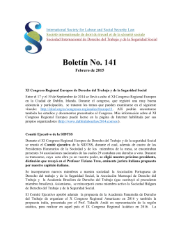 Boletín No. 141 - International Society for Labour and Social